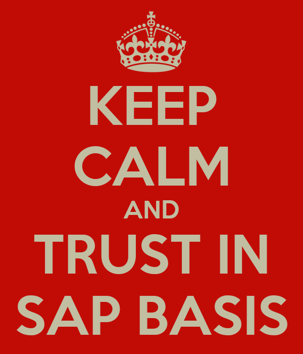 KEEP CALM AND TRUST IN SAP BASIS