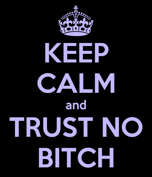 KEEP CALM and TRUST NO BITCH