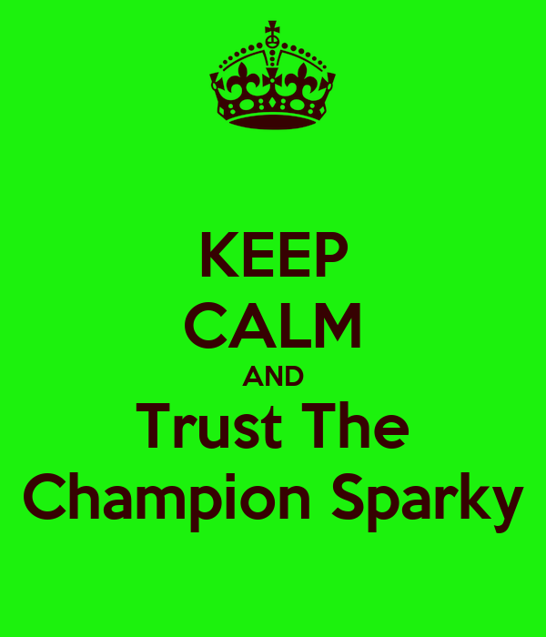KEEP CALM AND Trust The Champion Sparky
