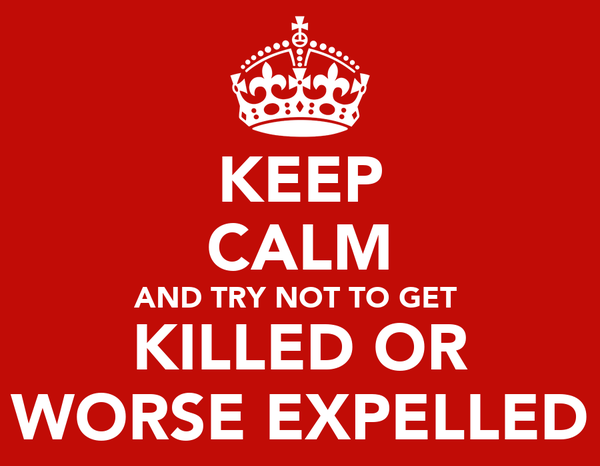 KEEP CALM AND TRY NOT TO GET  KILLED OR WORSE EXPELLED