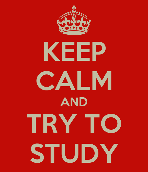 KEEP CALM AND TRY TO STUDY