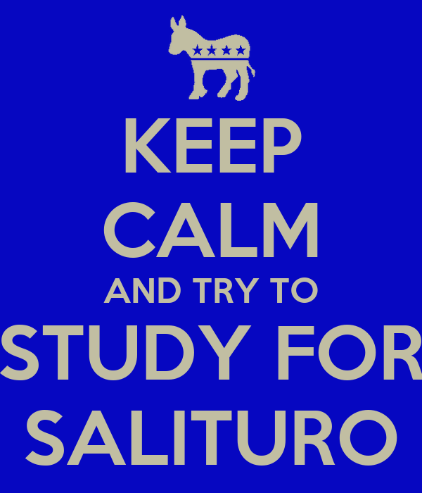 KEEP CALM AND TRY TO STUDY FOR SALITURO