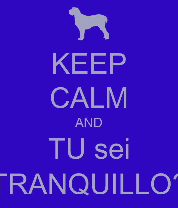KEEP CALM AND TU sei TRANQUILLO?