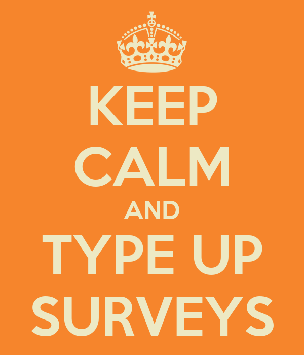 KEEP CALM AND TYPE UP SURVEYS