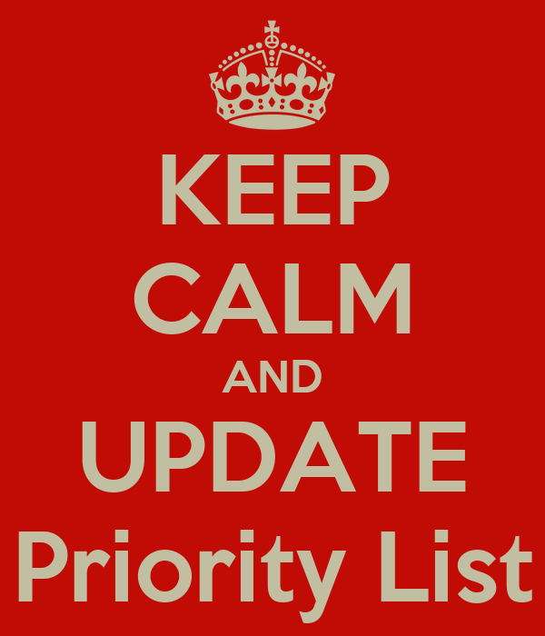 KEEP CALM AND UPDATE Priority List