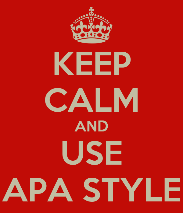 KEEP CALM AND USE APA STYLE