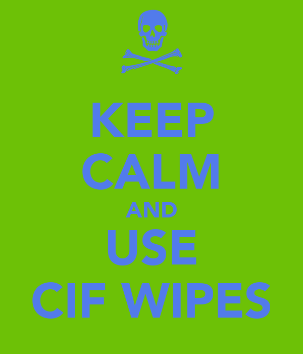 KEEP CALM AND USE CIF WIPES