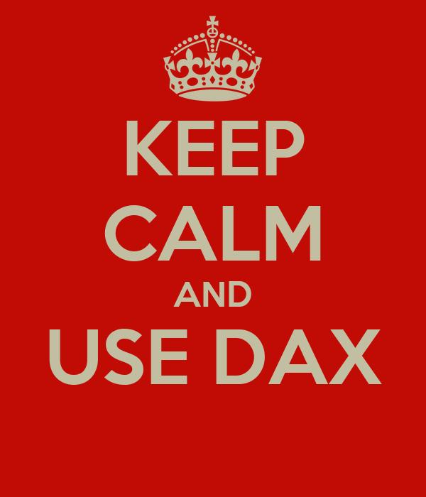 KEEP CALM AND USE DAX