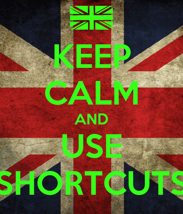 KEEP CALM AND USE SHORTCUTS