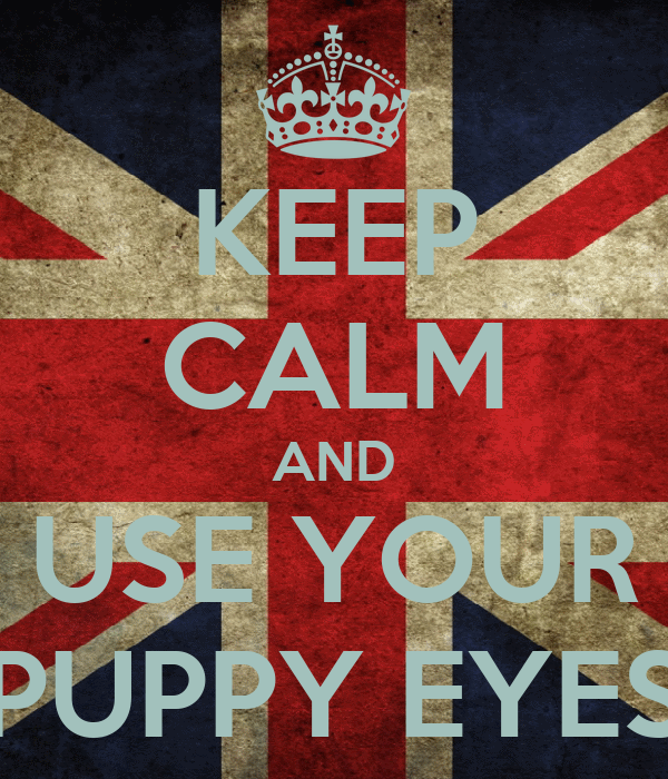 KEEP CALM AND USE YOUR PUPPY EYES