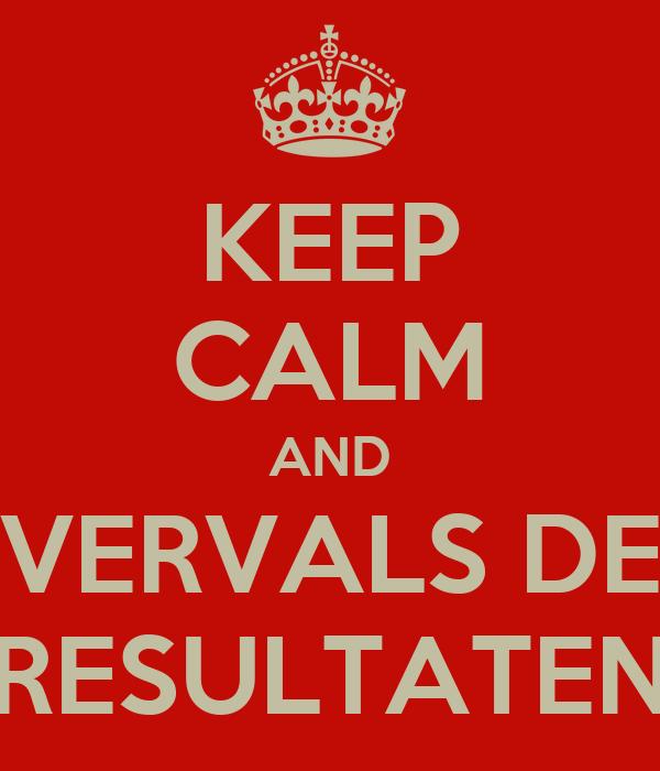 KEEP CALM AND VERVALS DE RESULTATEN