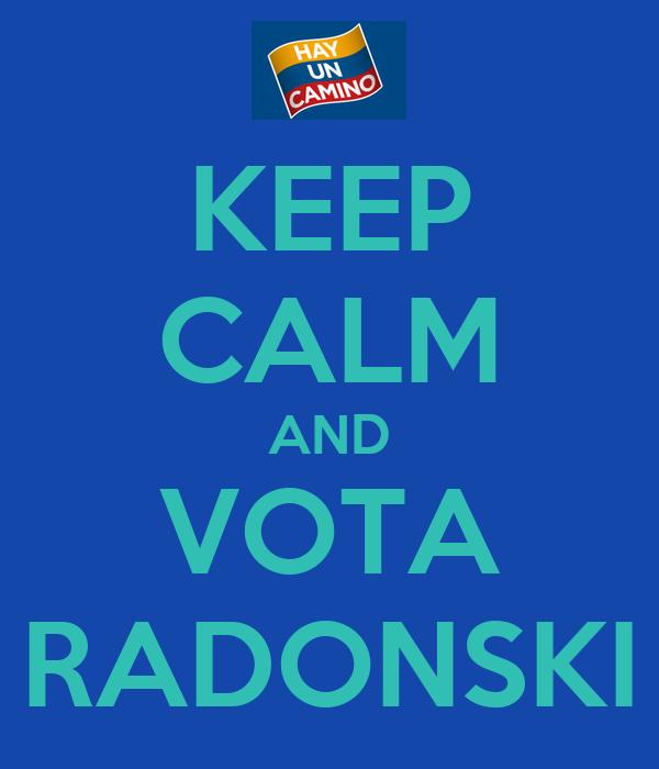 KEEP CALM AND VOTA RADONSKI