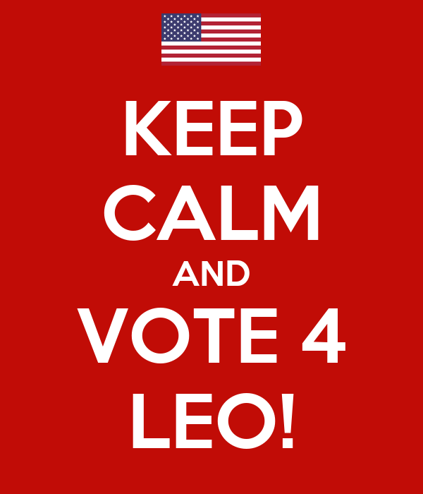 KEEP CALM AND VOTE 4 LEO!