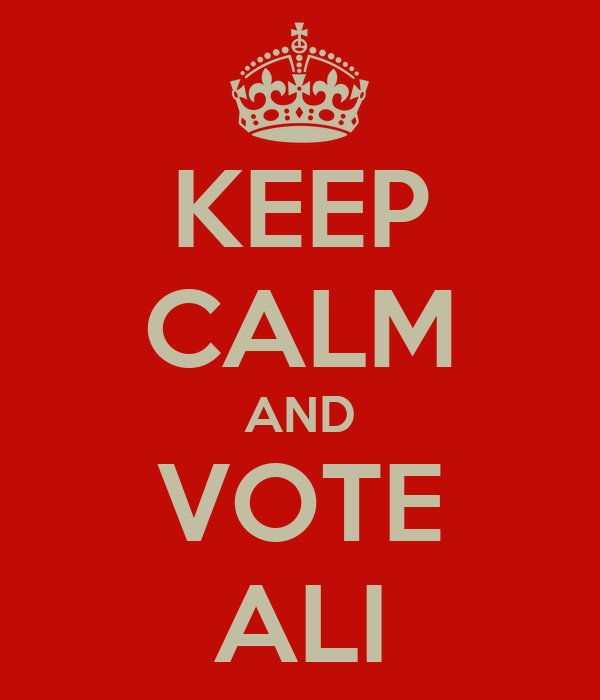 KEEP CALM AND VOTE ALI