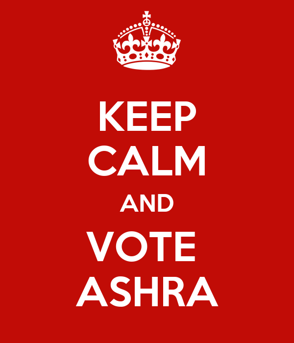 KEEP CALM AND VOTE  ASHRA