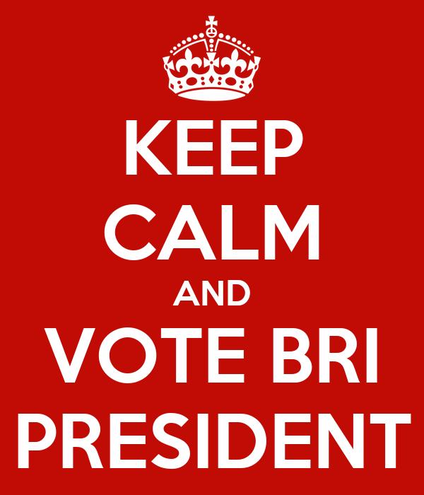 KEEP CALM AND VOTE BRI  PRESIDENT