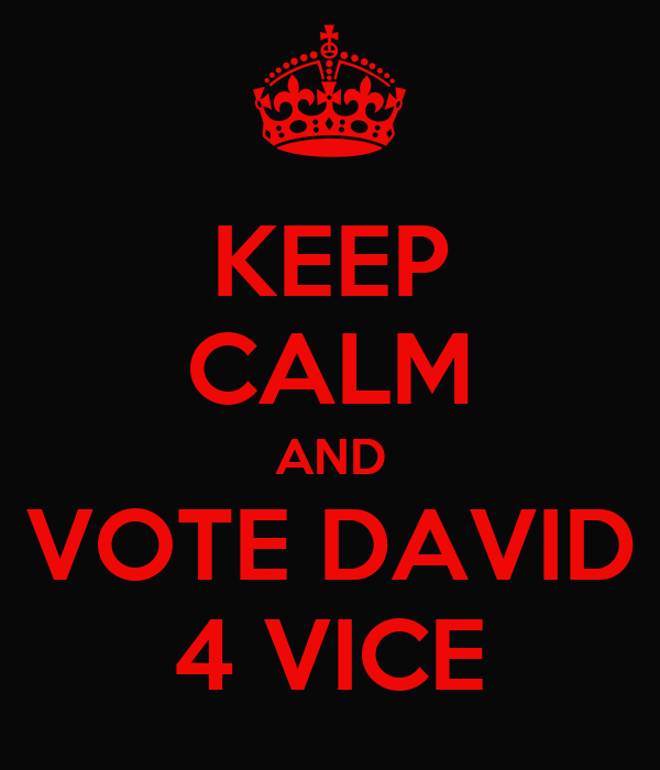 KEEP CALM AND VOTE DAVID 4 VICE