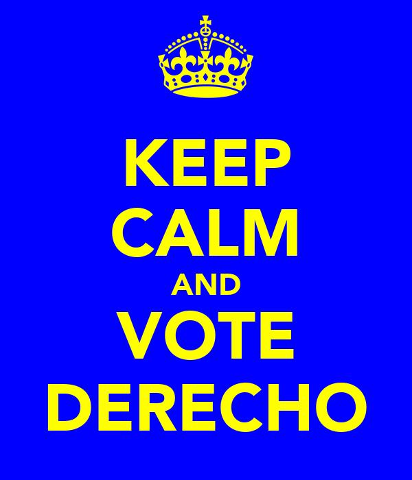 KEEP CALM AND VOTE DERECHO