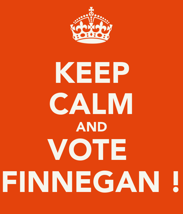 KEEP CALM AND VOTE   FINNEGAN !