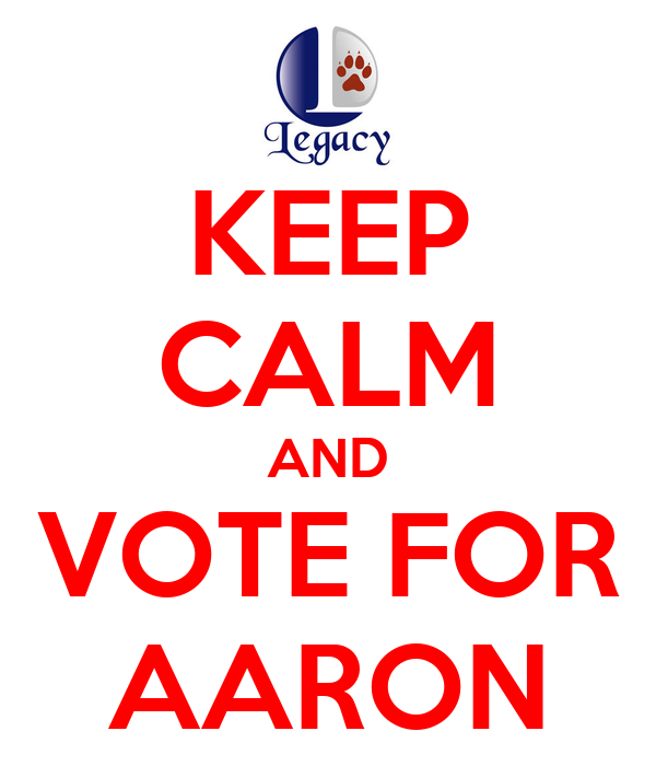 KEEP CALM AND VOTE FOR AARON