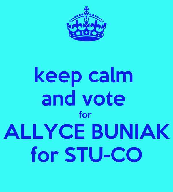 keep calm  and vote  for  ALLYCE BUNIAK for STU-CO