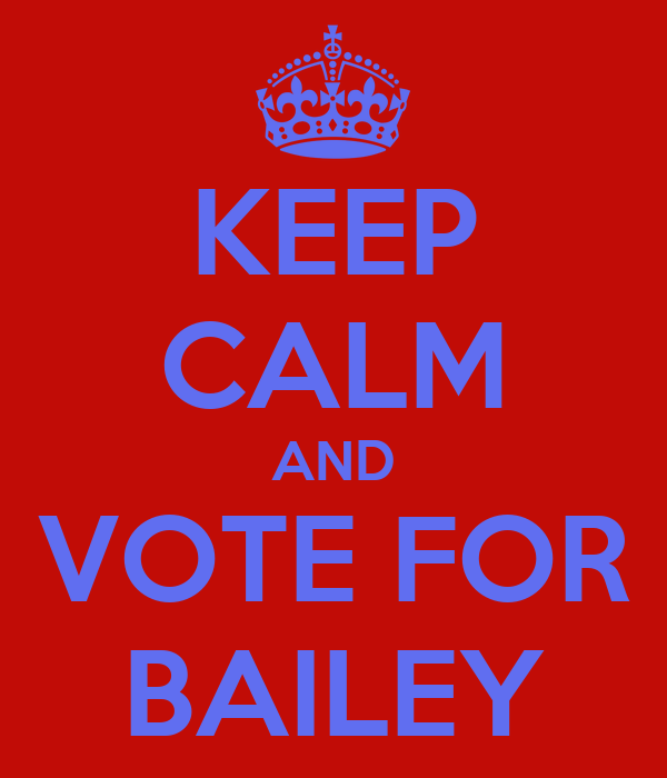 KEEP CALM AND VOTE FOR BAILEY