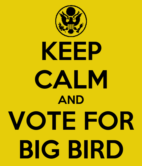 KEEP CALM AND VOTE FOR BIG BIRD