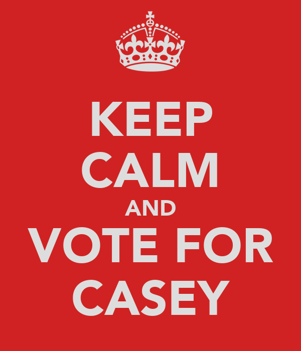 KEEP CALM AND VOTE FOR CASEY