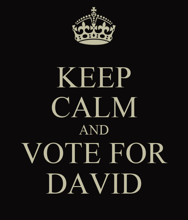 KEEP CALM AND VOTE FOR DAVID