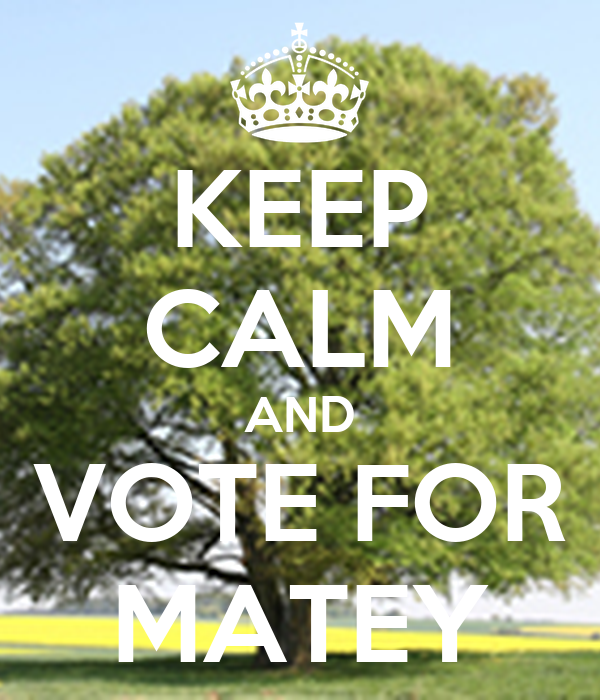 KEEP CALM AND VOTE FOR MATEY