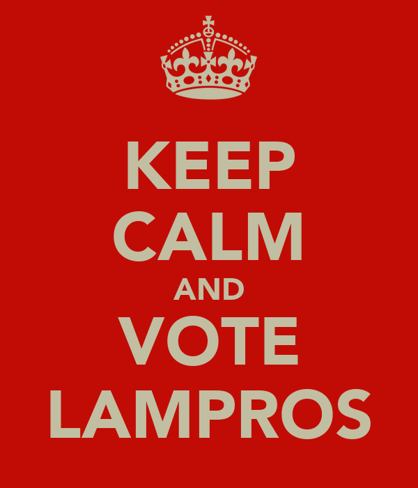 KEEP CALM AND VOTE LAMPROS