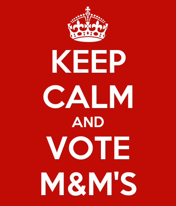 KEEP CALM AND VOTE M&M'S