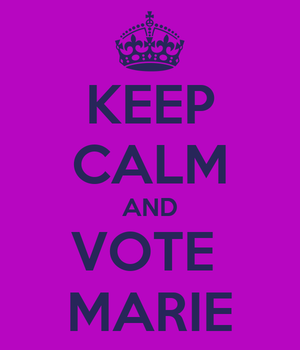KEEP CALM AND VOTE  MARIE