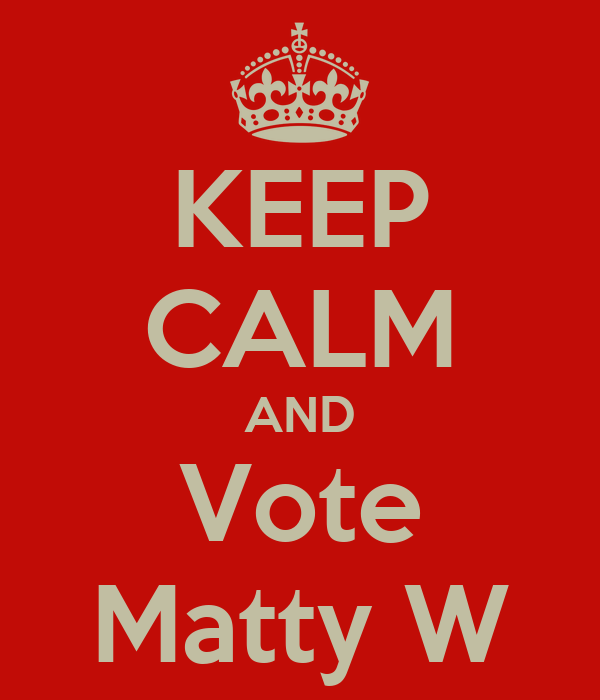 KEEP CALM AND Vote Matty W