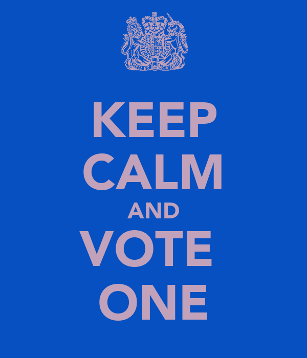 KEEP CALM AND VOTE  ONE