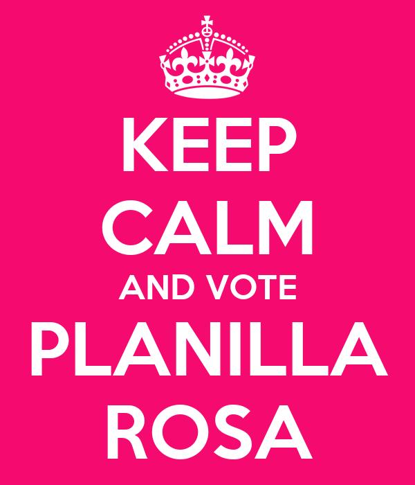 KEEP CALM AND VOTE PLANILLA ROSA