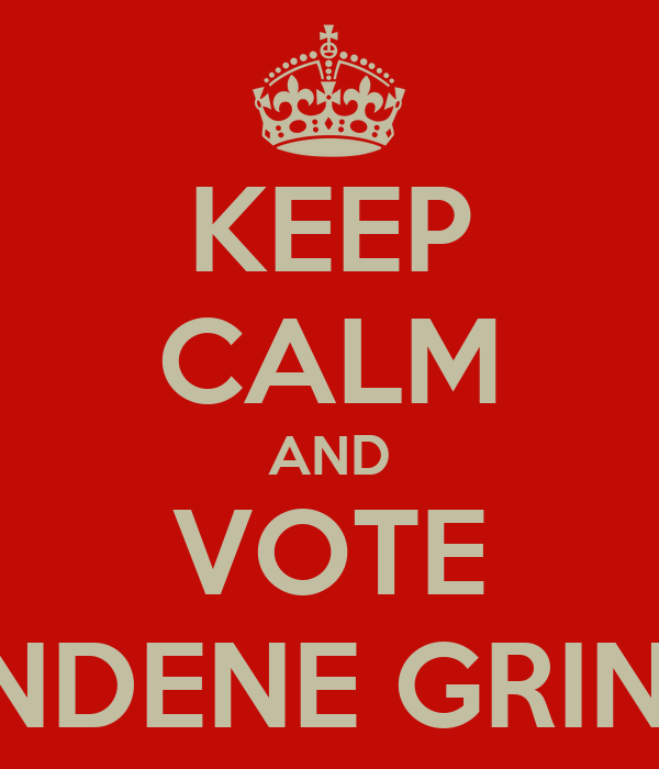 KEEP CALM AND VOTE RONDENE GRINAM