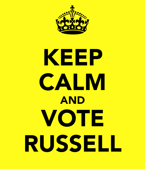 KEEP CALM AND VOTE RUSSELL