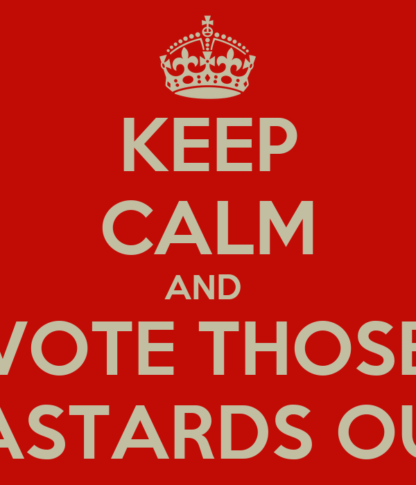 KEEP CALM AND  VOTE THOSE BASTARDS OUT