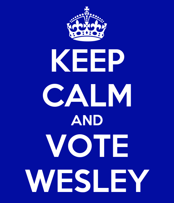 KEEP CALM AND VOTE WESLEY