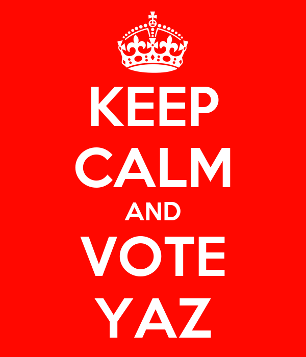 KEEP CALM AND VOTE YAZ