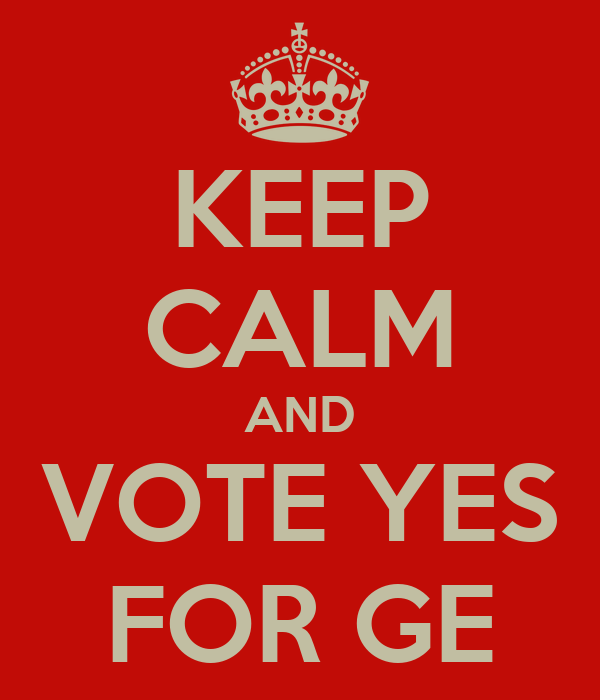 KEEP CALM AND VOTE YES FOR GE