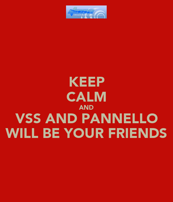 KEEP CALM AND VSS AND PANNELLO WILL BE YOUR FRIENDS