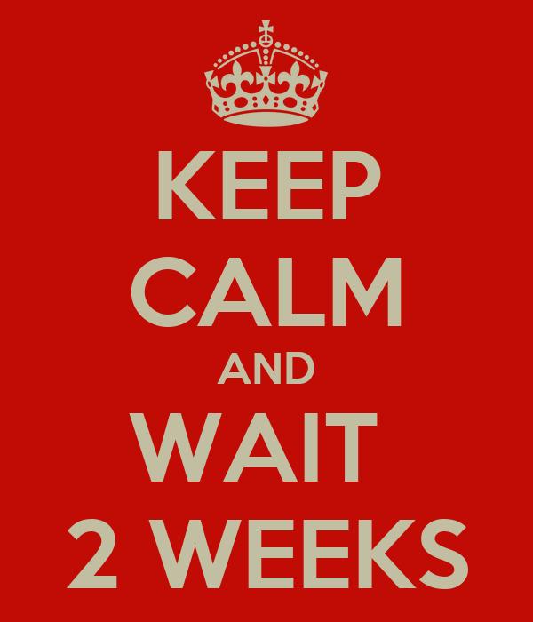 KEEP CALM AND WAIT  2 WEEKS