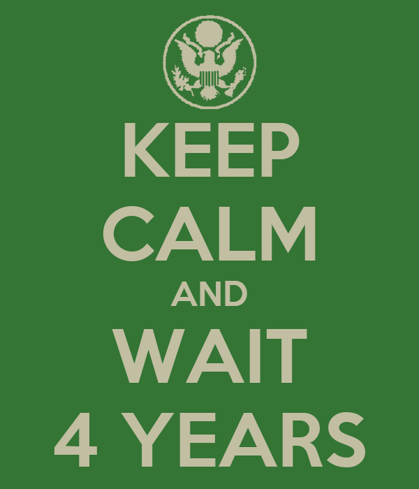 KEEP CALM AND WAIT 4 YEARS