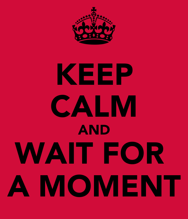 KEEP CALM AND WAIT FOR  A MOMENT