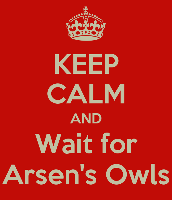 KEEP CALM AND Wait for Arsen's Owls