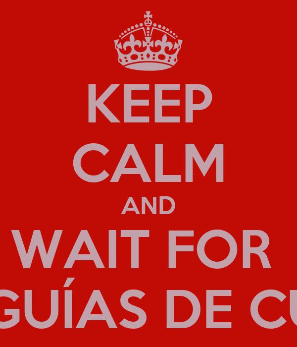 KEEP CALM AND WAIT FOR  LAS GUÍAS DE CURSO