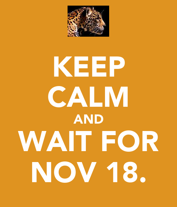 KEEP CALM AND WAIT FOR NOV 18.