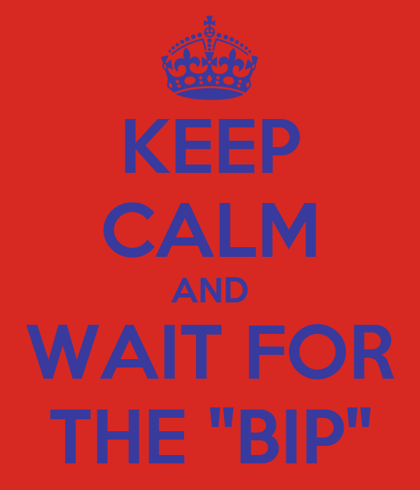 """KEEP CALM AND WAIT FOR THE """"BIP"""""""